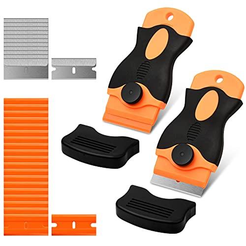 Schaber Ceranfeld, 2 Stücke orangefarben Ceranfeld Kratzer mit 32 Stücke Ersatzklingen für Küche und Glaskeramik