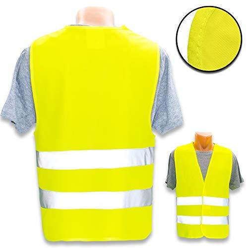 Hochwertige Warnweste mit Leuchtstreifen * Bedruckt mit Name Text Bild Logo Firma * personalisiertes Design selbst gestalten, Farbe Warnweste:Gelb (XL/XXL), Druckposition:OHNE Druck