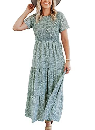 Maggeer Tiered Dress Women Summer Bohemian Smocked Bodice Floral Long Dress Light Green L