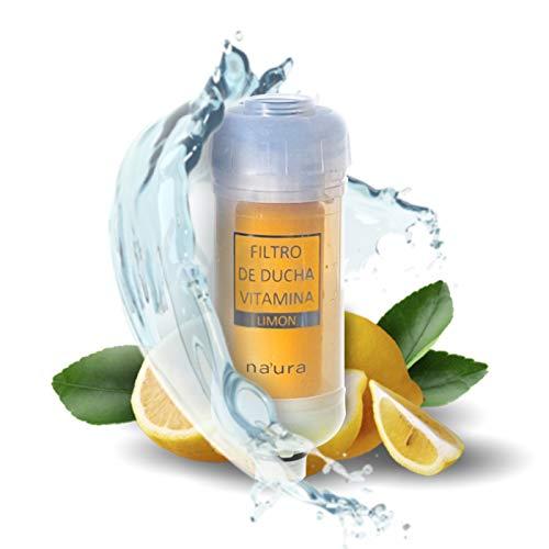 Filtro de Ducha Revitalizante Plantawa, Filtro de Agua para Ducha, Filtro de Agua para Grifo, Purificador con Vitaminas Aroma Limón
