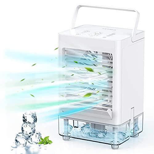 KIMILAR Climatiseur Portable Silencieux Usb, Refroidisseur D'air Mobile 5000mAh,Réglable 3 Vitesses Vent & 3 Niveaux D'humidité Minuterie Ventilateur/Humidificateur,Climatisation Clim Mobile (Blanc)