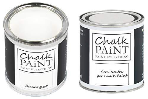 Chalk Paint blanco tiza y cera – Kit listo para pintar y proteger (250 ml + 250 ml)