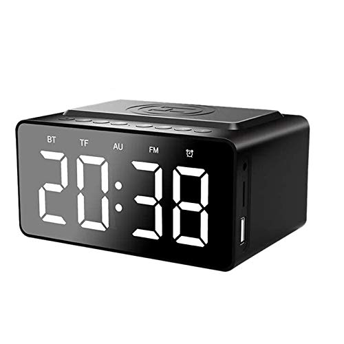 Cobeky Radio de reloj digital, radio de reloj FM con altavoz, pantalla de dígitos de 5.0 pulgadas con atenuador, volumen de alarma ajustable
