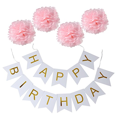 XADP White Happy Birthday Bunting Banner with Shimmering Gold Letters,,Set of 4 Pink Tissue Paper Pom Poms