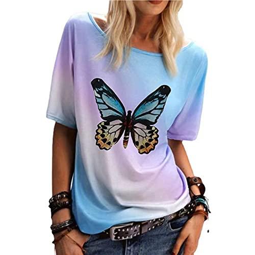 Camiseta de Tie-Dye Gradiente con Estampado de Mariposas Blusas de Mangas Cortas Cuello en Redondo Camisa Suelta Casual Verano Remeras Damas de Elegante Tops Moderna Ideal para Fiesta y Club