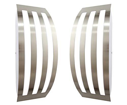 Trango 2er Pack IP44 Außenleuchte, Wandleuchte TG8009R/2 aus Edelstahl & Kunststoff mit E27 Fassung - Passend für alle LED Leuchtmittel Außenbeleuchtung, Außenwandleuchte, Außenlampe, Gartenleuchte