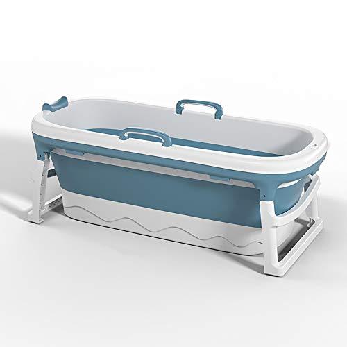 NEWB Tragbare Falten Badewanne Pool Große freistehende Eckbadewanne Badewanne Eimer für Erwachsene Aufstockung, Lange Isolationszeit (ohne Abdeckung),Blau