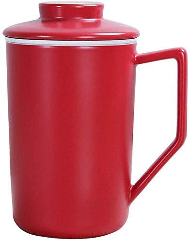 GJJSZ Keramik Kaffeetasse Mit Deckel Geschenk Tasse Büro Mark Cup Persönliche Hand Teetasse Liner Filter Keramik Kreative Geburtstagsgeschenk(Farbe: Rot,Größe: 430 ml)
