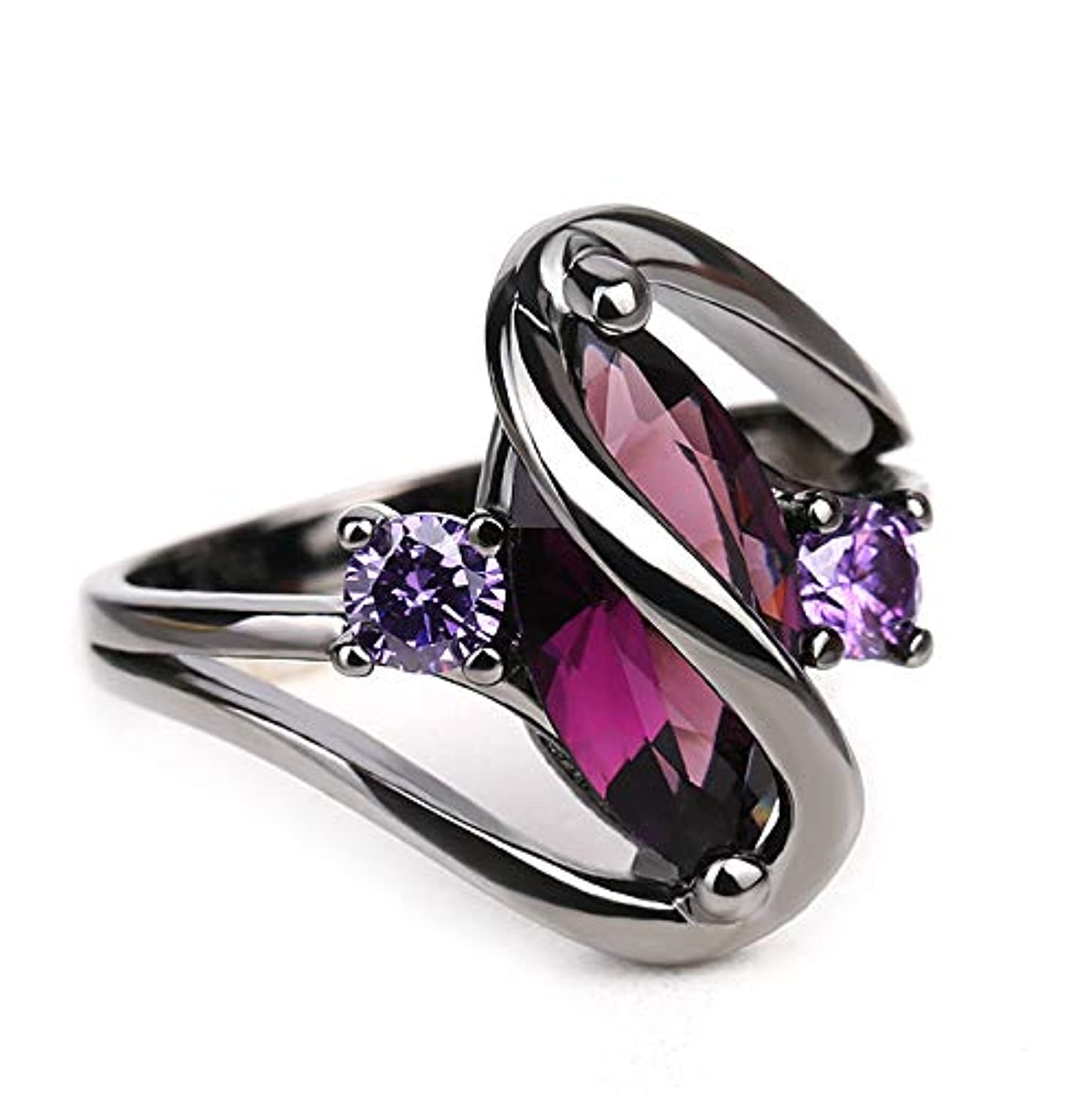 MAIHAO Hot Fashion Luxury Vintage Purple Zircon CZ Crystal Colorful Rings for Women Wedding Engagement Jewelry Rings Size(6-10) (US Code 8)