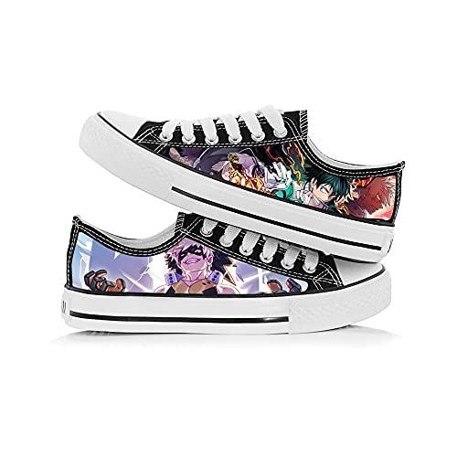 JPTYJ My Hero Academia Deku/Midoriya Izuku/Todoroki Shoto Zapatos de Lona Graffiti de Corte bajo, Unisex, Zapatos de Anime, Zapatos Casuales, Estudiantes, Zapatillas de Deporte B-36