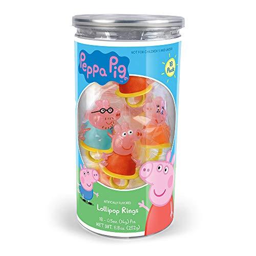 Peppa Pig Lollipop Rings Birthday Party Favors - 18-Pack Tub