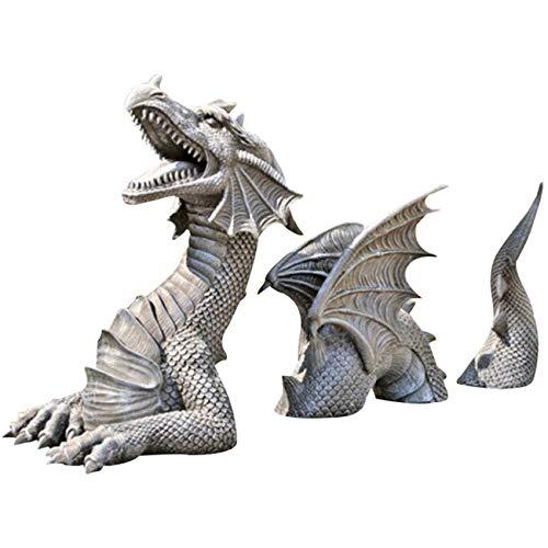 Large Dragon Gothic Garden Decor Statue, Castle Moat Lawn Resin Ornament (Gray)