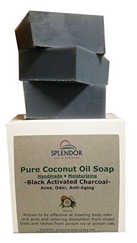 Splendor Black Activated Charcoal Soap Bars Unscented, 100% Natural Coconut Oil - Acne, Odor, Handmade, Vegan, Moisturizing for Sensitive Skin Hand Body and Face