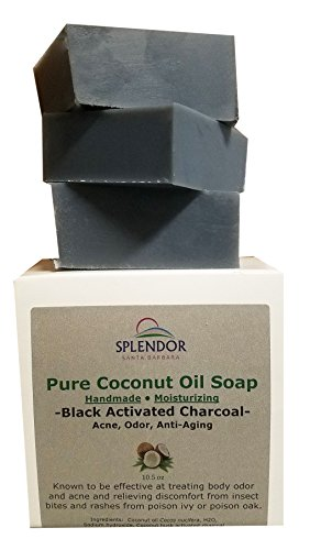 Splendor Black Activated Charcoal Soap Bars Unscented, 100% Natural Coconut Oil - Acne, Odor, Handmade, Vegan, Moisturizing for Sensitive Skin Hand Body and Face