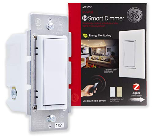 GE Zigbee Smart Dimmer In-Wall Lighting Control, Neutral Wire Required, Works Directly with Alexa Plus, Echo Show (2nd Gen), White & Light Almond, 45857GE