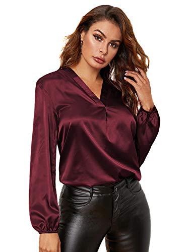 SOLY HUX Damen Blusen Satin Oberteil Langarm Top mit V Ausschnitt Lässig Büro Tunika Oberteile mit Laternenärmeln Bordeaux L