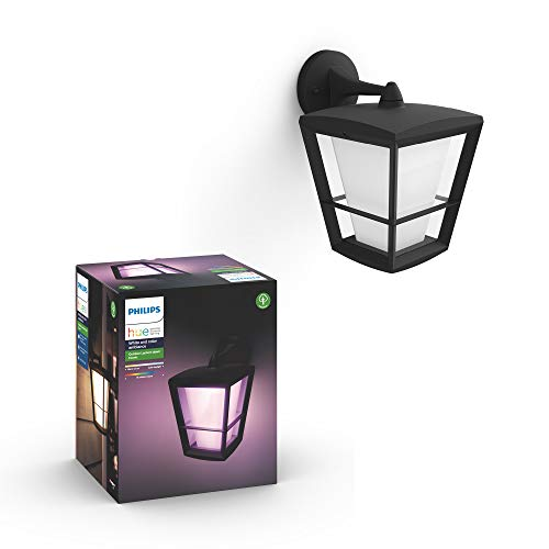 Philips Hue Econic Aplique brazo descendente LED inteligente negro, luz blanca y...