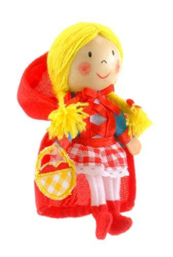 Fiesta Crafts Marionnettes De Doigts - Tissus Chaperon Rouge Marionnette À Doigt Avec Tête En Bois