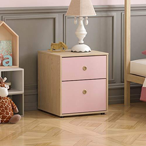 Junior Vida Neptunus 2 sängbord skåp byrå sovrum förvaring barnmöbler, rosa och ek, H ca 76 x B 64,5 x D 40 cm
