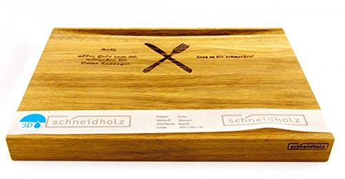 Exklusives Schneidholz ca. 360 x 260 x 35 mm aus massivem Eichenholz, mit Ihrer Wunschgravur
