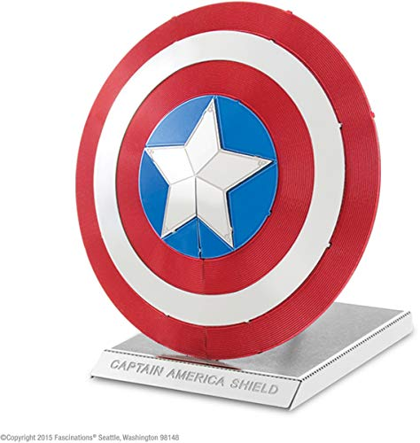 Fascinations Metal Earth MMS321 - 502641, Marvel Avenger Captain's America Shield, Konstruktionsspielzeug, 2 Metallplatinen, ab 14 Jahren