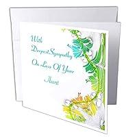 フローレンメッセージ–Aquaのイメージと同情–グリーンスクロールメッセージ同情on for an Aunt–グリーティングカード Set of 6 Greeting Cards