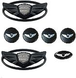 Lighting sale 7PCS Black 3D Badge Emblems Front +Rear +Steering Wheels (Fit: Hyundai 2010-2016 Genesis & Genesis Coupe) (Black)
