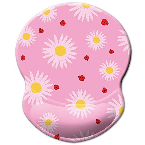 ITNRSIIET Mouse Pad, Ergonomic Mouse Pad with Gel Wrist Rest Support, Floral Mousepad with Lycra Cloth, Non-Slip PU Base for Gaming Computer, Laptop, Home, Office & Travel, Chrysanthemum Flower Pink