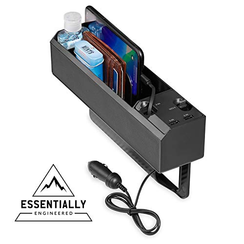 ESSENTIALLY ENGINEERED Car Console Seat Pocket Organizer with 2 USB Chargers, Retractable iPhone QC3.0 Cables, Multifunctional Seat Gap Filler for Cell Phones, Wallets, and Organization