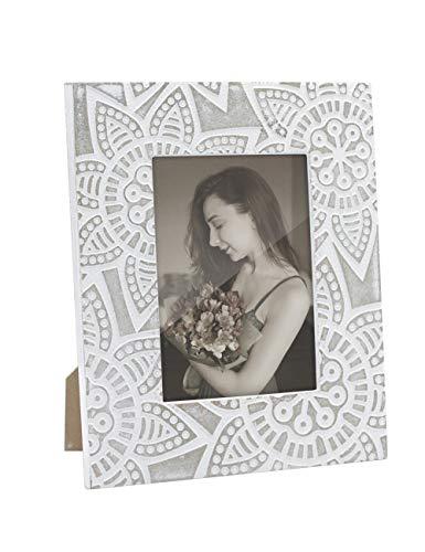 13x18 Bilderrahmen Weiß Grau Holz Mandala Muster Shabby vintage Fotorahmen Rustikal Home Deko zum Schreibtisch