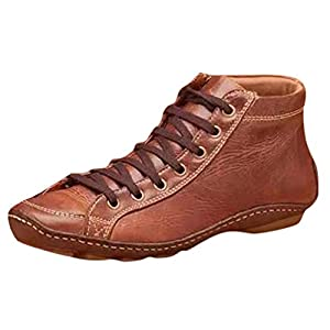 Women Round Toe Boots Casual Vintage Flat Heel Leather Retro Solid Color Lace-up Side Zipper Shoes Winter Leisure Arch Support Ankle Boots Walking Booties (Size:37=US:6.5-7, Brown)