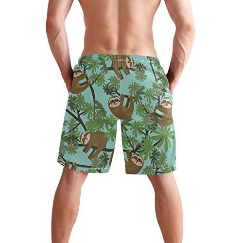 QUEMIN Bañador para Hombre Sloth On Jungle Short de Playa de Secado rápido con Forro de Malla, Talla XL