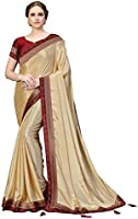 COTTON SHOPY Women's Chiffon Poly Silk Tant Solid Fashion Saree with Blouse Piece (5011, Beige)
