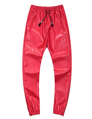 Idopy Men`s Leather Joggers Pants with Drawstring 34 Red