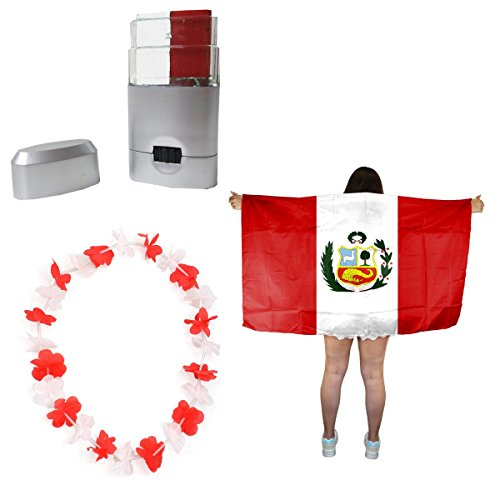 Sonia Originelli Fan-Paket-11 WM EM Fußball Fan Hawaiikette Schminkstift Poncho Farbe Peru