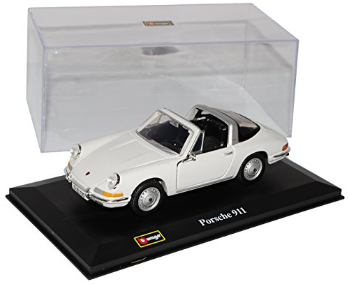 Bburago Porsche 911 Urmodell Targa Weiss 1963-1973 1/32 Modell Auto mit individiuellem Wunschkennzeichen