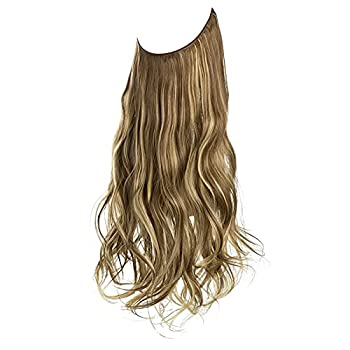 SHENYF Hair Extension No Clip Wave Hair Extensions Ombre Synthetic Natural Black Blonde Pink One Piece False Hairpiece Fish Line Fake Hair Piece  Bulk Buy   1 PC Color   86H10