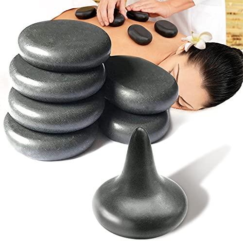 7 Hot Stones for Massage-6 Basalt Massage Stones (3.15in) with 1 Mushroom Shaped Massage Tool Set...