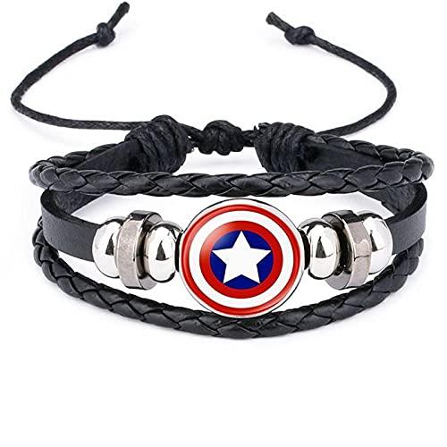 Películas Europeas Y Americanas Que Rodean Al Héroe De Marvel Batman Avengers Capitán América Escudo Pulsera De Cuero Con Gemas