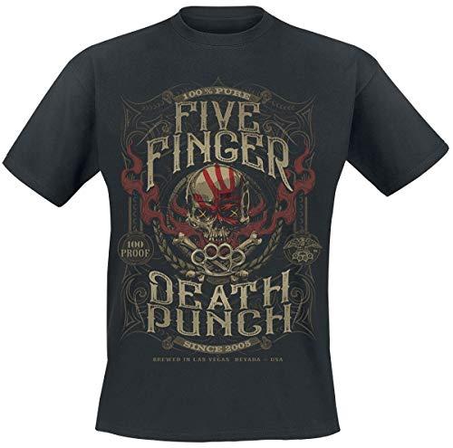 Five Finger Death Punch 100 Proof T-Shirt Homme T-Shirt Manches Courtes Noir 5XL