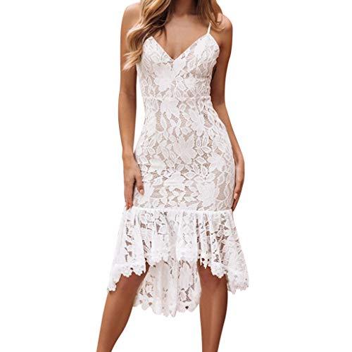 Damen Abendkleid Kurz Spitze Sommerkleider Ärmellos Kleid V Ausschnitt Enge Minikleid Sexy Cocktailkleid Elegant Kleider Kurz Strand Kleidung Partykleider Sonojie