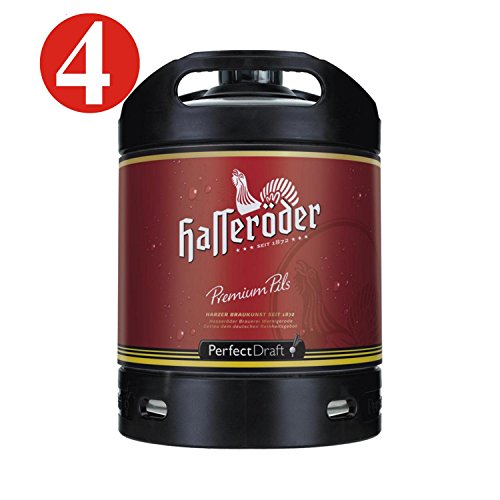 4x Hasseröder Perfect Draft Permium Pils 6 Liter Fass 4,9 % vol. inc. 20,00€ MEHRWEG Pfand