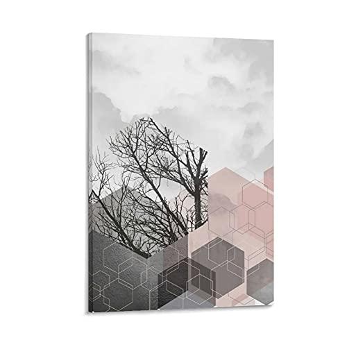 DRAGON VINES Póster abstracto de acuarela gris y ruborizado natural gris cielo impresión arte pared cuadro hogar oficinas garajes tiendas 60 x 90 cm