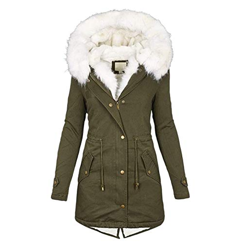 Ladies Winter Jacket Long Parka With Hood Plush Cotton Jacket Drawstring Teddy Fur Lined Slim Fit Inner Cord For Width Adjustment S-5Xl (Color : Army green, Size : 5XL)