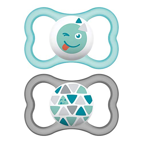 MAM Air Modern Pacifiers 2 Pack MAM Sensitive Skin Pacifier 16 Months Best Pacifier for Breastfed Babies Unisex Baby Pacifiers Aqua
