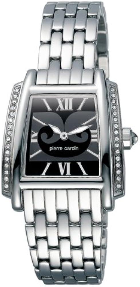 Pierre cardin,orologio da donna,, cassa quadrata in acciaio inossidabile, lunetta decorata con cristalli 4354508