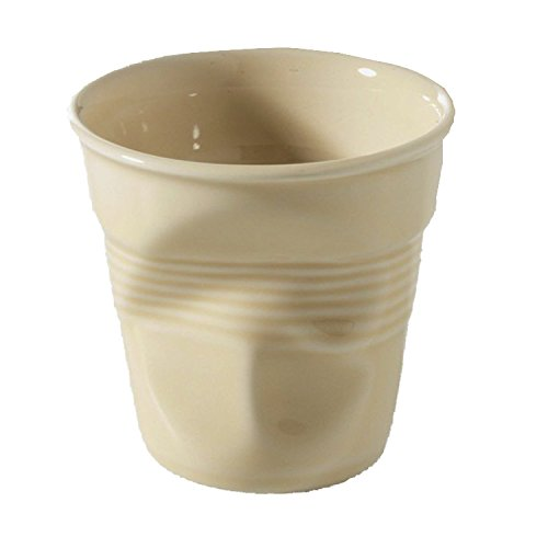 REVOL RV640647 Tasse Espresso froissé, Porcelaine, Vanille, 6,5 x 6,5 x 6 cm