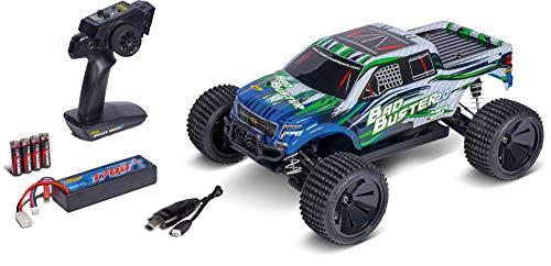 Carson 500402129 1:10 Bad Buster 2.0 4WD X10 2.4G 100{a3640807fa53dcd7a11cba5717a6f1f44c52cc00f4f7e0c4f93a9b3101586fcf} RTR, Ferngesteuertes Auto, RC Fahrzeug, inkl. Batterien und Fernsteuerung, Geschwindigkeit bis zu 35 km/h