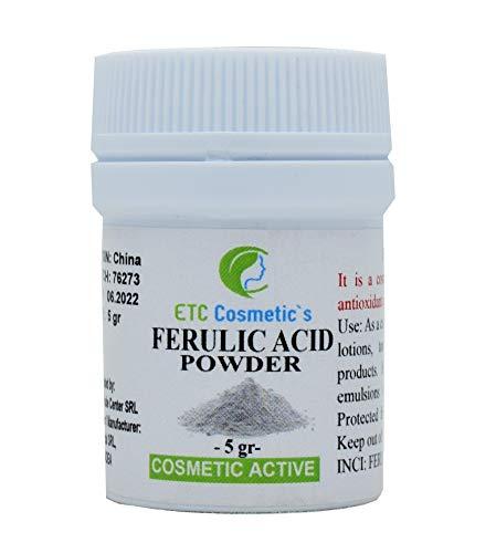 Polvo de ácido ferúlico puro - 5 gramos (Ferulic Acid Powder) - Un potente antioxidante y destructor de radicales libres | Estabiliza la vitamina C y protege las células del daño ambiental