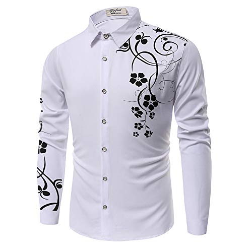 SFYZY Herrenhemd 3D-Gedruckter Modeknopf Langarmhemd Kleidung Modedruck Langarm Slim Trendy Shirt Jacke
